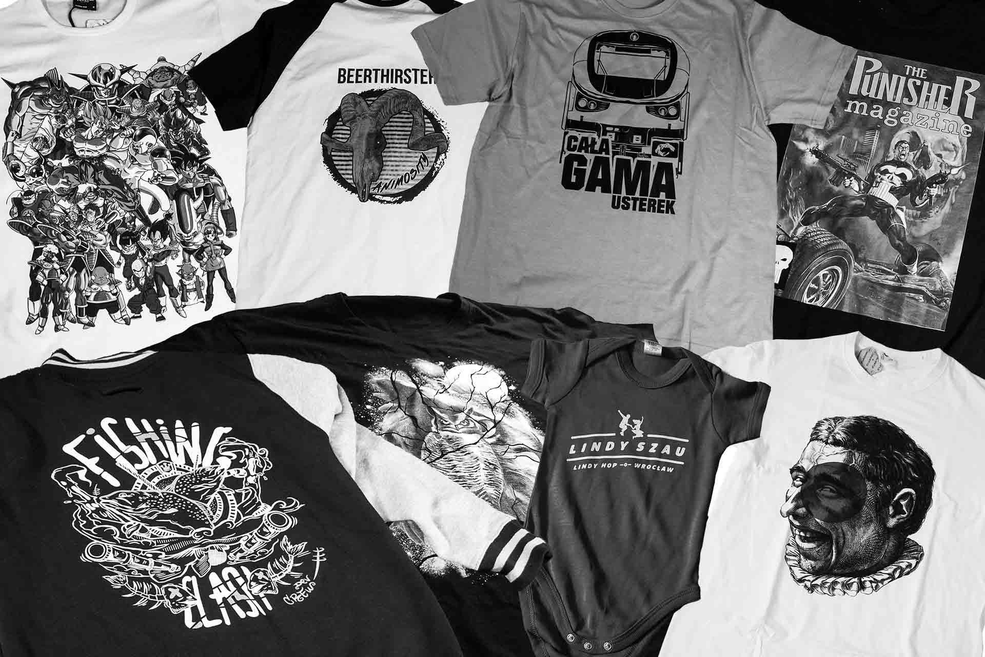 Koszulki z nadrukiem DTG kolaż